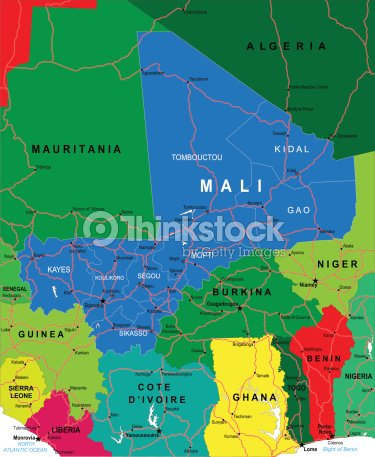 Colorful Map Of Africa With Mali Highlighted In Blue Vector Art ...
