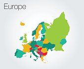 Colorful map of Europe on vector background