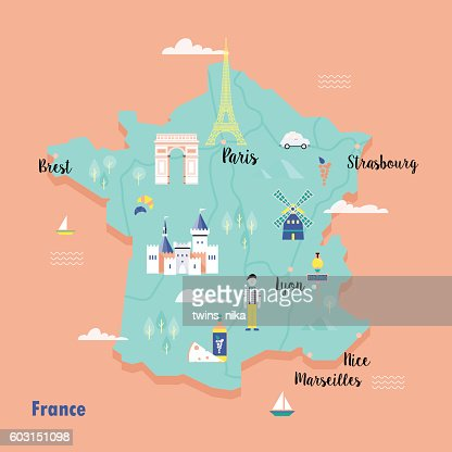 Colorful map of France in retro style with popular landmarks. : clipart vectoriel