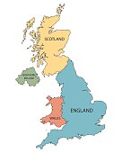colorful vector map of United Kingdom countries