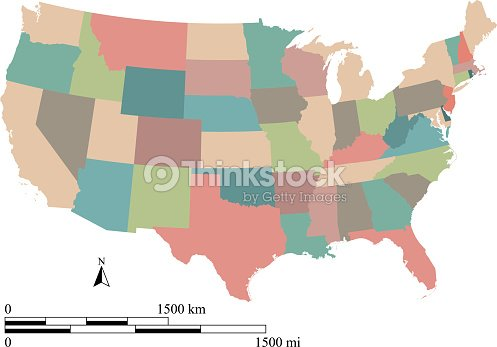 Us Map With Miles.Colorful Map Of Usa States Vector Outline Illustration Us Map Scale