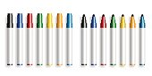 Colorful marker pen on white background, opened and closed marker highlighter, Office supplies,vector illustration