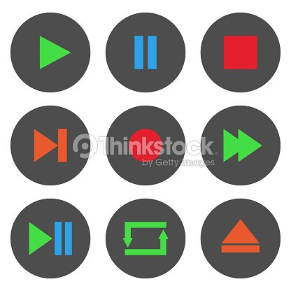 8f6cc0c05c Colorful Media Player Control Buttons Set Play Pause Stop Record ...