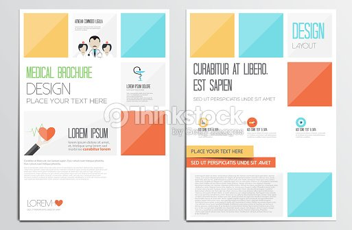 colorful medical brochure design template on two pages vector art