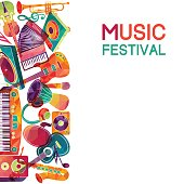 Colorful music background. Music instruments.  Vector illustration