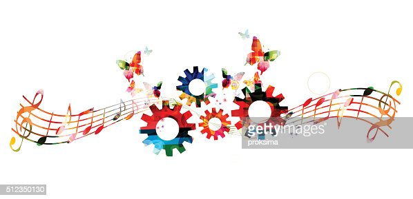 Notas De La Música Colorido Fondo Con Engranajes Arte