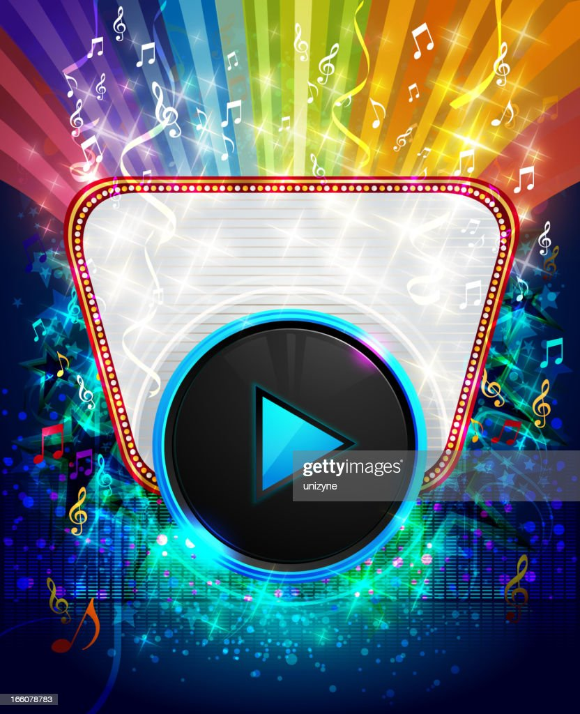 Colorful Musical Marquee Background with Play Button : Vector Art
