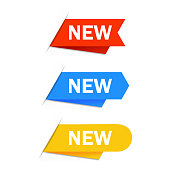 colorful new label blue yellow and red in vector