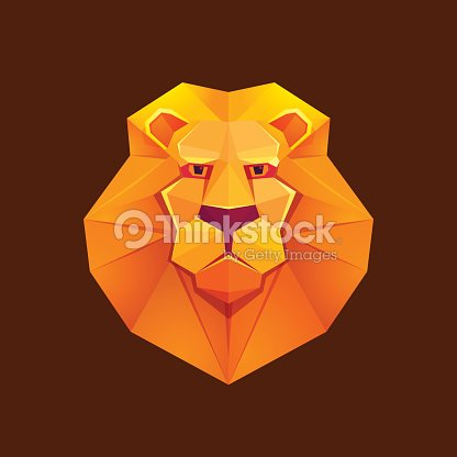 Colorful Origami Lion Low Poly Character Vector Art