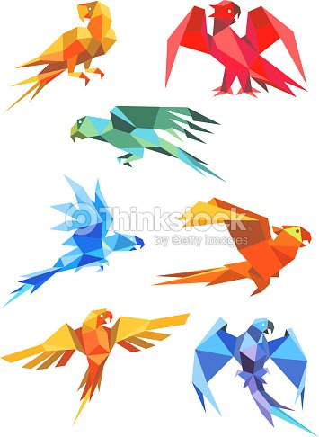 Colorful Origami Paper Stylized Parrots Vector Art