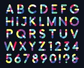 Colorful overlays font only dark background a point capital letters