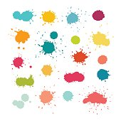 Colorful paint splashes and drops. Abstract watercolor splatters. Isolated vector illustration on white background