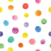 Colorful paint watercolor seamless pattern. Abstract vector seamless pattern. Watercolor polka dot. Bright splashes isolated on white