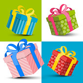 Colorful Vector Paper Gift Boxes Set