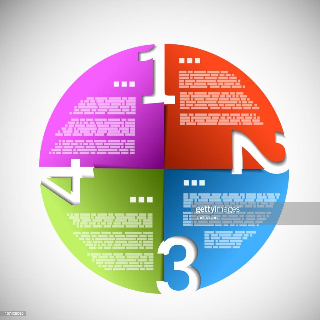 Colorful paper progress circle : Vector Art