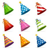 Colorful Party hats cone set isolated on white background. Accessory, symbol of the holiday. Birthday caps set. Vector illustration