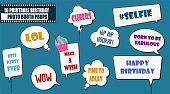Colorful photo booth props set vector illustration. Collection of birthday party speech bubbles. Perfect for photobooth shooting