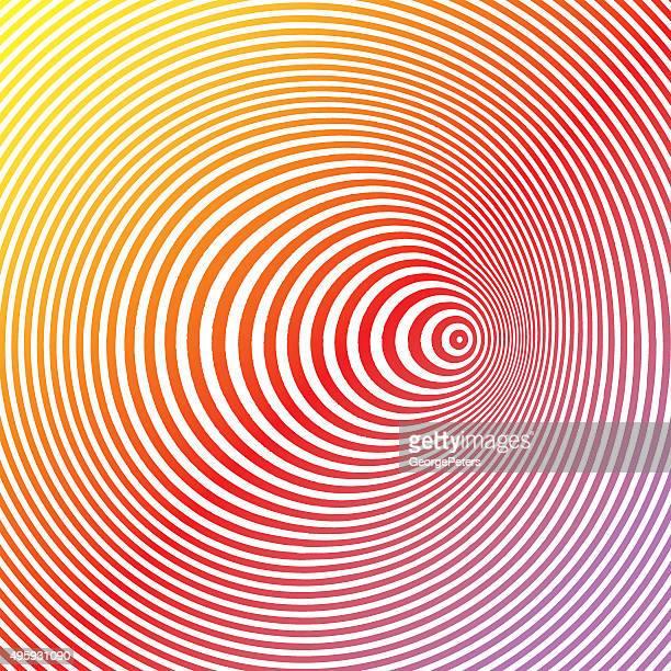El colorido arte Pop semitono patrón círculos concéntricos