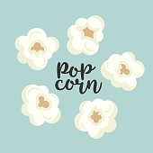 Colorful popcorn items vector cute set. Tasty fast food unhealthy meal. Some small pieces of popcorn