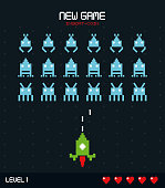 colorful poster of new game insert coin with graphics of spatial game level one vector illustration