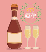 colorful poster of we are getting married with champagne bottle and champagne glasses vector illustration