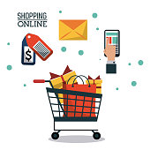 colorful poster shopping online with shopping cart full of gifts vector illustration