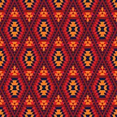 Colorful red yellow blue aztec diamond ornaments geometric ethnic seamless pattern, vector