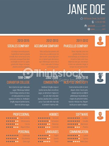 colorful resume cv template with timeline vector art thinkstock
