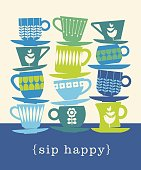 colorful retro illustration with stacks of tea cups for posters, invitations, greeting cards, coffee and tea lovers.