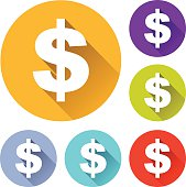 vector illustration of six colorful dollar icons