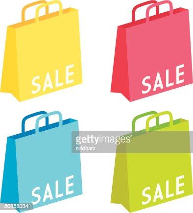 Vente sacs colorés cadeau : Clipart vectoriel