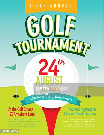 Elegant Golf Tournament Invitation Design Template On Bokeh Vector