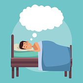 colorful scene man dreaming in bed at night with cloud callout vector illustration