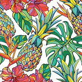 Seamless vector background with pineappels and tropical flora