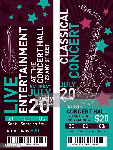 Colorful Set Of Concert Ticket Templates Vector Art | Getty Images