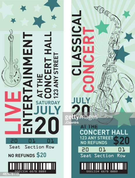 Set Of Colorful Rock N Roll Concert Tickets Template Design Vector