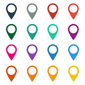 Colorful set of map markers on white background. Vector illustration