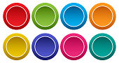 Colorful set of round buttons. Vector illustration