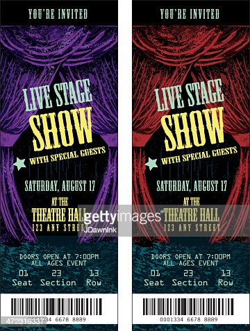 colorful set of theatre show ticket templates vector art getty images. Black Bedroom Furniture Sets. Home Design Ideas