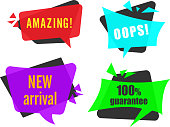 Four colorful speech shopping labels isolated on white background. Vector illustration.