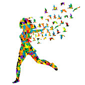 Colorful silhouette of young woman jumping with birds flying from her, abstract illustration