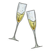 Colorful sketch style illustration of two glasses of champagne on white background. Vector.