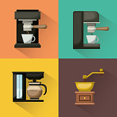 colorful square background with coffee machine set vector illustration