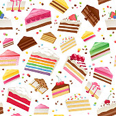 Colorful sweet cakes slices seamless background. Vector pattern illustration.