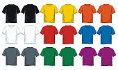 colorful t shirt collection for men. front look and back, vector image