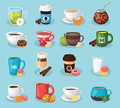 Modern icons for coffee shop and coffee house. Colorful template for cooking and restaurant menu.