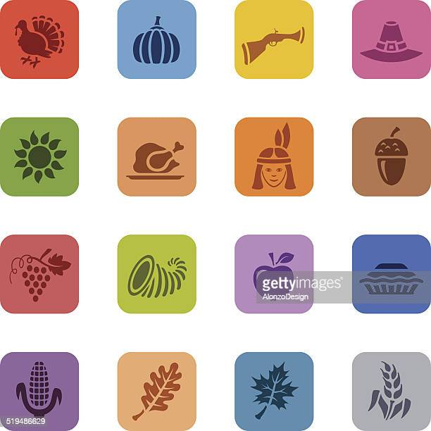 Colorful Thanksgiving Icon Set