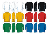 Colorful three-quarter shirt collection icon set. front look side and back, vector image