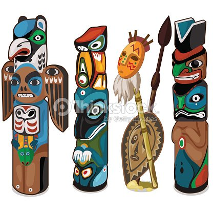 colorful totems with faces of people and birds ベクトルアート