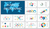 Colorful training or planning concept infographic charts set. Business design elements for presentation slide templates. For corporate report, advertising, leaflet layout and poster design.
